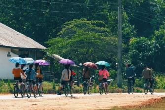 Local kids on bikes