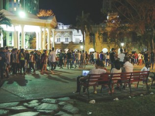 Busy main square at night in Santa Clara